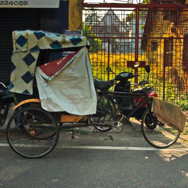 Le vélo rickshaw où l'on peut se cacher