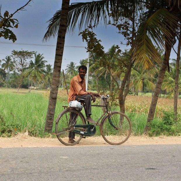 Le vélo de celui qui nous observe au bord de la route