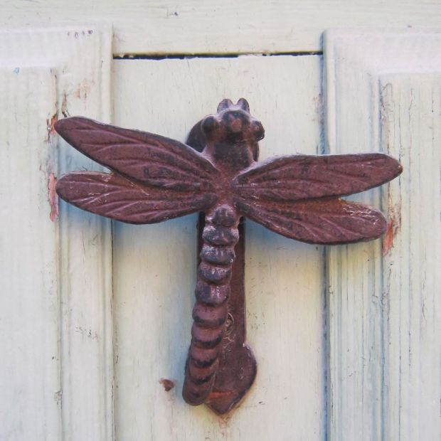 Un heurtoir libellule, le seul que j'ai vu durant ma quête de heurtoirs qui dure depuis des années.