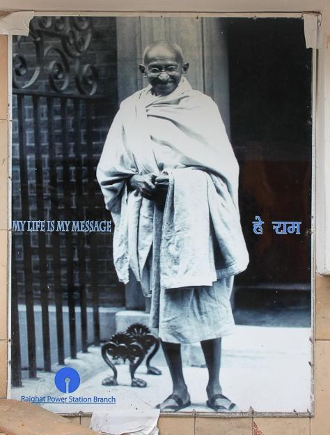 Affiche de Gandhi à Delhi