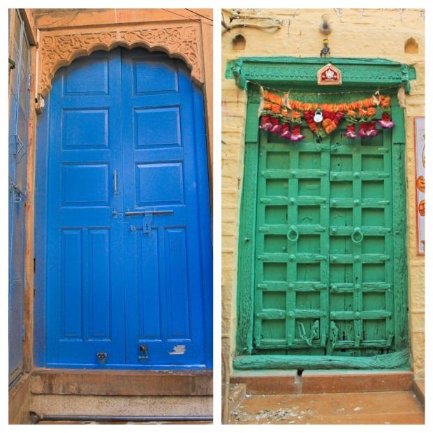 Blue and green door
