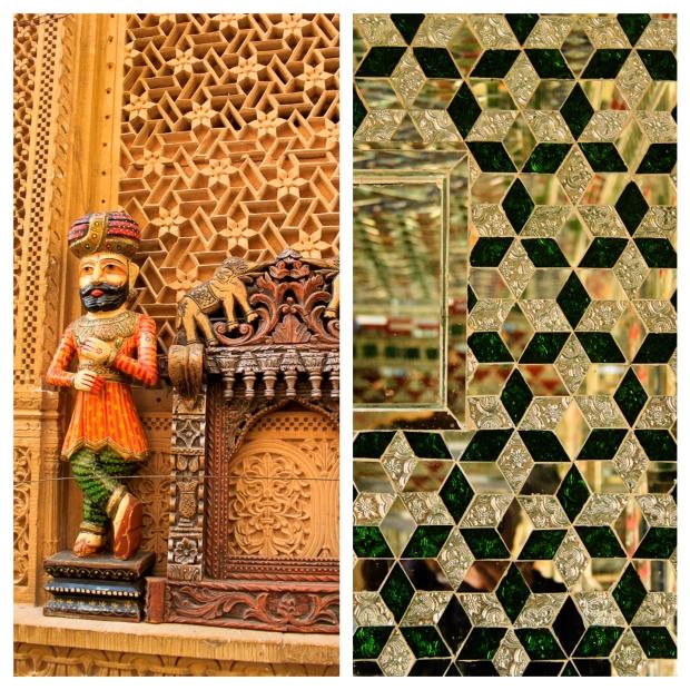 stone carving et mosaïques en miroirs.