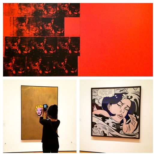 Andy Warhol Andy Warhol 1963 Orange car crash Fourteen Times et  Gold Marylin Monroe 1962,  Roy Lichtenstein