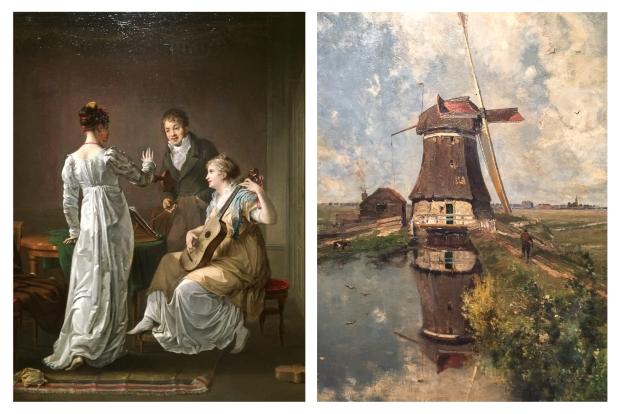 Gauche Hendrik Jacobus Scholten, La leçon de musique . A droite,Paul Gabriel Au mois de juillet, un moulin à vent sur une Poldervaart 1888