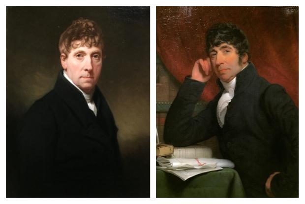 A gauche,Charles Howard Hodges Autoportrait 1835. A droite Charles Howard Hodges portrait de Willem Bilderdijk