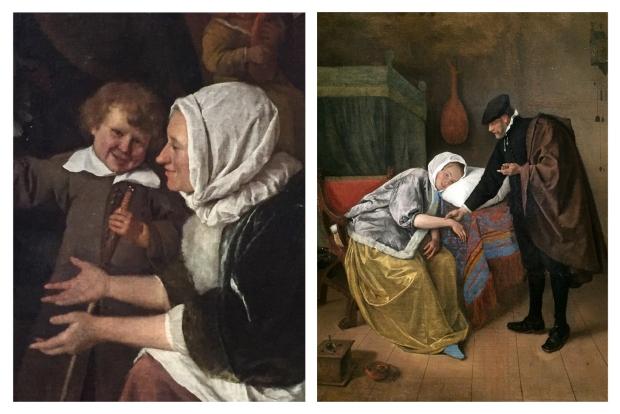 A gauche Jan Steen la fête de saint nicolas 1663 , à droite Jan Steen Sick woman 1660