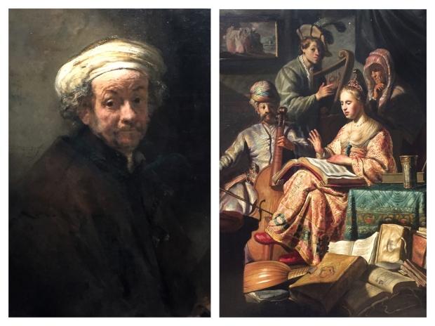 """A gauche, Rembrandt """"Autoportrait"""" 1660. A droite, """"Musical Company"""" 1626"""